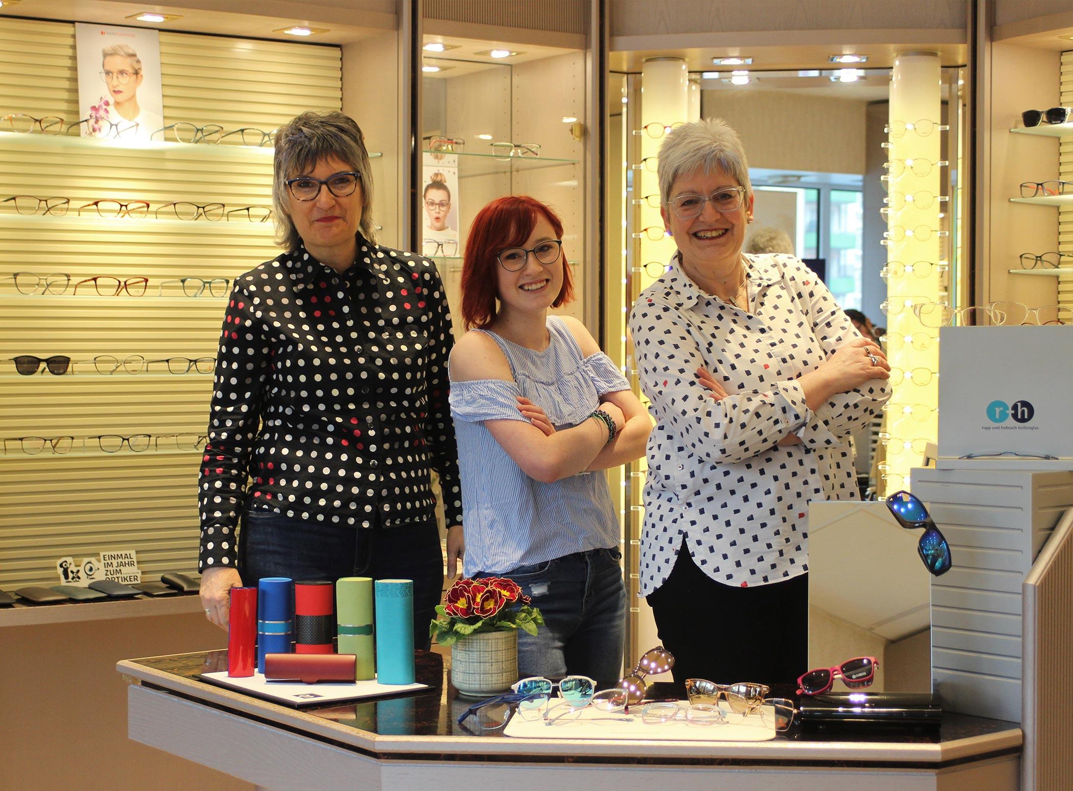 Ihr Team von Augenoptiker Richter – links Silvia Uhlig, Mitte Nadine Blümel, rechts Katrin Sommer